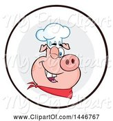 Swine Clipart of Cartoon Winking Chef Pig Wearing a Bandana and Toque Hat in a Circle by Hit Toon