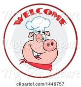 Swine Clipart of Cartoon Winking Chef Pig Wearing a Bandana and Toque Hat in a Circle with Welcome Text by Hit Toon