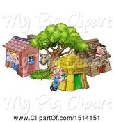 Swine Clipart of Cartoon Wolf and Piggies at Their Brick, Wood and Straw Houses by AtStockIllustration