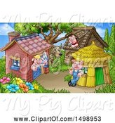 Swine Clipart of Cartoon Wolf and Piggies from the Three Little Pigs Fairy Tale, at Their Brick, Wood and Straw Houses by AtStockIllustration