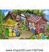 Swine Clipart of Cartoon Wolf Watching Piggies at Their Brick, Wood and Straw Houses by AtStockIllustration