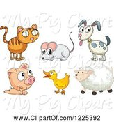 Swine Clipart of Cat Mouse Dog Pig Duck and Sheep by Graphics RF