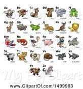 Swine Clipart of Chart of Animals and Alphabet Letters by AtStockIllustration