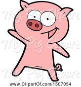 Swine Clipart of Cheerful Dancing Pig by Lineartestpilot