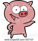 Swine Clipart of Cheerful Pig by Lineartestpilot