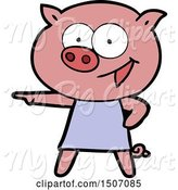 Swine Clipart of Cheerful Pig in Dress Pointing by Lineartestpilot
