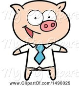 Swine Clipart of Cheerful Pig in Office Clothes by Lineartestpilot