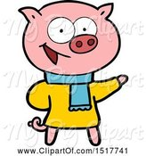 Swine Clipart of Cheerful Pig Wearing Winter Clothes by Lineartestpilot