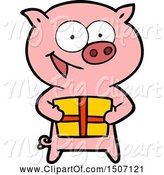 Swine Clipart of Cheerful Pig with Christmas Gift by Lineartestpilot