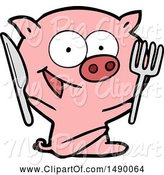 Swine Clipart of Cheerful Sitting Pig by Lineartestpilot