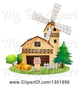 Swine Clipart of Cheering Pig Leaping by a Barn and Windmill by Graphics RF