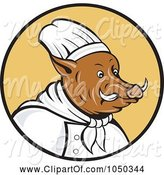 Swine Clipart of Chef Boar Logo by Patrimonio