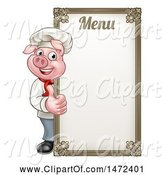 Swine Clipart of Chef Pig Giving a Thumb up Around a Menu Board by AtStockIllustration