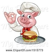 Swine Clipart of Chef Pig Holding a Cheese Burger on a Tray and Gesturing Okay by AtStockIllustration