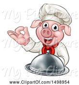 Swine Clipart of Chef Pig Holding a Cloche and Gesturing Okay by AtStockIllustration
