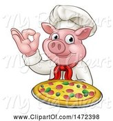 Swine Clipart of Chef Pig Holding a Pizza and Gesturing Okay by AtStockIllustration