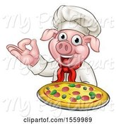 Swine Clipart of Chef Pig Holding a Pizza and Gesturing Perfect by AtStockIllustration