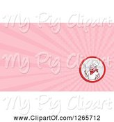 Swine Clipart of Chef Pig Holding a Spatula and Pink Ray Business Card Design by Patrimonio