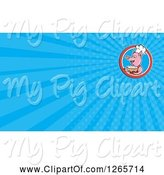 Swine Clipart of Chef Pig Holding Soup and Blue Ray Business Card Design by Patrimonio