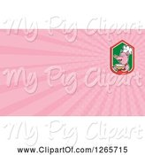 Swine Clipart of Chef Pig Holding Soup and Pink Ray Business Card Design by Patrimonio