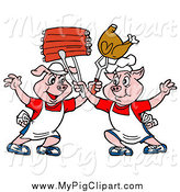 Swine Clipart of Chef Pigs Holding up Ribs and Chicken by LaffToon