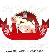 Swine Clipart of Chicken, Pig, Sheep and Cow in Front of a Red Barn over a Blank Banner by Graphics RF