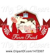 Swine Clipart of Chicken, Pig, Sheep and Cow in Front of a Red Barn over a Farm Fresh Banner by Graphics RF
