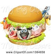 Swine Clipart of Chicken, Pig, Sheep, Cow, Duck and Fish in a Burger by Graphics RF