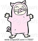 Swine Clipart of Child Wearing a Pig Costume by Lineartestpilot