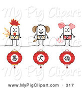 Swine Clipart of Chinese Zodiac Years of the Rooster, Dog and Boar Stick Person Characters by NL Shop