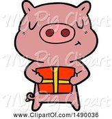 Swine Clipart of Christmas Pig by Lineartestpilot