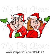 Swine Clipart of Christmas Pig Couple Presenting by LaffToon