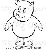 Swine Clipart of Chubby Black and White Pig in Clothes by Lal Perera