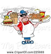 Swine Clipart of Chubby Chef Pig Holding Trays of Food by LaffToon