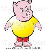 Swine Clipart of Chubby Pig in a Yellow Shirt by Lal Perera