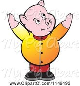 Swine Clipart of Chubby Pig with Both Arms up by Lal Perera