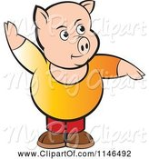 Swine Clipart of Chubby Pig with One Arm up by Lal Perera