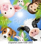 Swine Clipart of Circle of Cute Animals Looking down Against a Blue Sky by Oligo