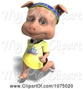 Swine Clipart of Clipart 3d Cute Pig Jogging 1- Royalty Free CGI Illustration by Ralf61