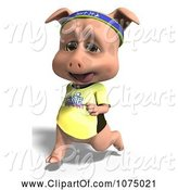 Swine Clipart of Clipart 3d Cute Pig Jogging 2- Royalty Free CGI Illustration by Ralf61