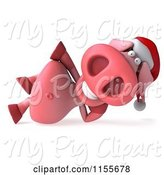 Swine Clipart of Clipart of a | 3d Christmas Pig Reclined| Royalty Free CGI Illustration by Julos