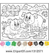 Swine Clipart of Color by Number Pigs, Mud, Fence and Shrubs by Visekart