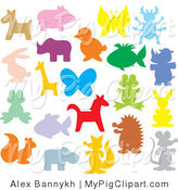 Swine Clipart of Colorful Animal Silhouettes on a White Background by Alex Bannykh