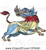 Swine Clipart of Colorful Mosaic Wild Boar Attacking by Patrimonio