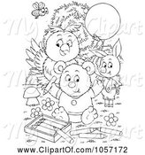 Swine Clipart of Coloring Page Outline of a Bee, Ppig, Owl and Bear Coloring by Alex Bannykh