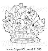 Swine Clipart of Coloring Page Outline of a Cow, Horse, Pig and Sheep Looking over a Fence by Visekart