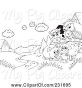 Swine Clipart of Coloring Page Outline of a Cow, Horse, Pig and Sheep on Farmland by Visekart