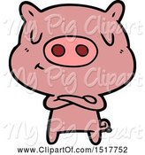 Swine Clipart of Content Pig by Lineartestpilot