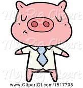 Swine Clipart of Content Pig in Shirt and Tie by Lineartestpilot