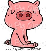 Swine Clipart of Content Pig Meditating by Lineartestpilot